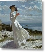 Grace Reading At Howth Bay Metal Print by Sir William Orpen