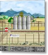 Grain Elevators At Ralston Metal Print
