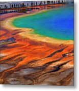 Grand Prismatic Spring Yellowstone National Park Tourists Viewin Metal Print