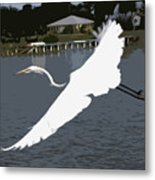 Great Egret At Melbourne Beach Metal Print