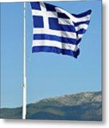 Greek Flag In Acropolis Of Athens Metal Print