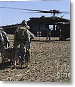 Green Berets Move A Simulated Casualty Metal Print