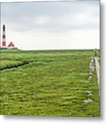 Green Fields And Romantic Lighthouse Metal Print