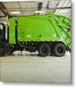 Green Garbage Truck Maintenance Metal Print by Don Mason