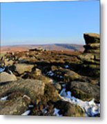 Gritstone Rocks On Hathersage Moor, Derbyshire County Metal Print