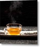 Gunpowder Green Tea In Glass Teapot Metal Print