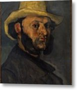 Gustave Boyer B 1840 In A Straw Hat Metal Print