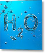 H2o Formula Made By Oxygen Bubbles In Water Metal Print