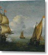 Hans Goderis Dutch Shipping At Sea, 1615 Metal Print