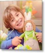 Happy Boy With Easter Bunny Metal Print