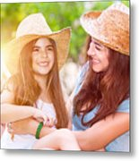 Happy Mother And Daughter Metal Print