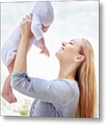 Happy Mother With Baby Metal Print