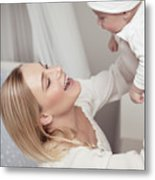 Happy Mother With Her Baby Metal Print