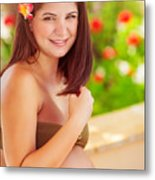 Happy Pregnant Girl On The Beach Resort Metal Print