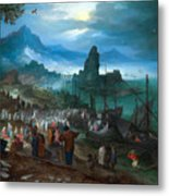 Harbour Scene With Christ Preaching Metal Print