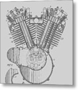 Harley Engine Patent From 1919 Metal Print
