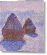 Haystacks, Snow And Sun Effect Metal Print