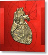 Heart Of Gold - Golden Human Heart On Red Canvas Metal Print