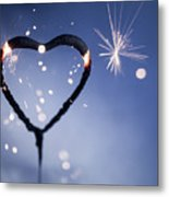 Heart Shape Sparkler Metal Print