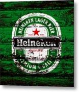 Heineken Beer Wood Sign 1e Metal Print