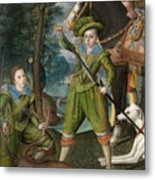 Henry Frederick Prince Of Wales With Sir John Harington In The Hunting Field Metal Print