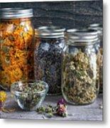 Herbs In Jars Metal Print