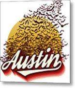 Congress Avenue Bridge Bats Take Flight In Austin Texas Metal Print