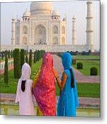 Hindu Women At The Taj Mahal Metal Print by Bill Bachmann - Printscapes