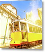 Historic Tram And Lisbon Cathedral Metal Print