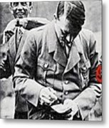 Hitler And Goebbels As The German Chancellor Signs An Autograph Metal Print