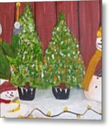 Holiday Snowmen Metal Print