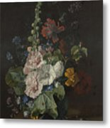 Hollyhocks And Other Flowers In A Vase Metal Print