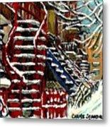 Escaliers De Montreal Ville De Verdun Best Original Montreal Paintings On Sale Peintures  Metal Print