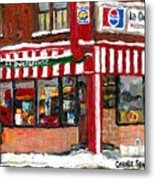 Original Montreal Paintings For Sale Peintures A Vendre Restaurant La Quebecoise Deli Metal Print