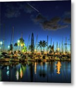 Honolulu Harbor By Night Metal Print