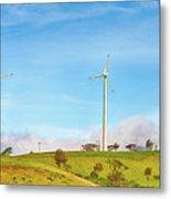 Horizontal Axis Wind Turbines. Panorama Metal Print