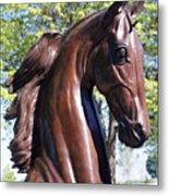 Horse Head In Bronze Metal Print