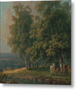Horses And Cattle By A River Metal Print