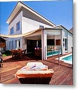 House And Pool Metal Print