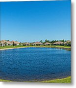 Houses Around Small Lake In North Port Metal Print