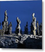 Human Figures Made From Stones At Night Metal Print