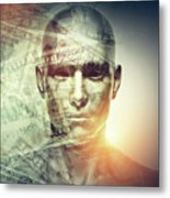 Human Man Face And Dollars Double Exposure. Metal Print