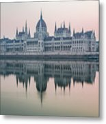 Hungarian Parliament In The Morning Metal Print