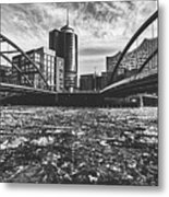 Ice Chunks On The Elbe - Hamburg Metal Print