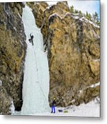 Ice Climbers On A Route Called Professor Falls Rated Wi4 In Banf Metal Print