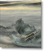 Ice In The Surf Metal Print