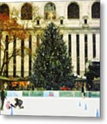 Ice Skating During The Holiday Season Metal Print