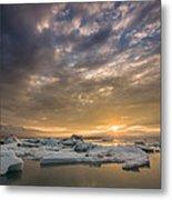 Icebergs On The Jokulsarlon Glacial Metal Print