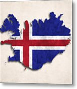 Iceland Map Art With Flag Design Metal Print