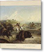 Indians Hunting The Bison Metal Print